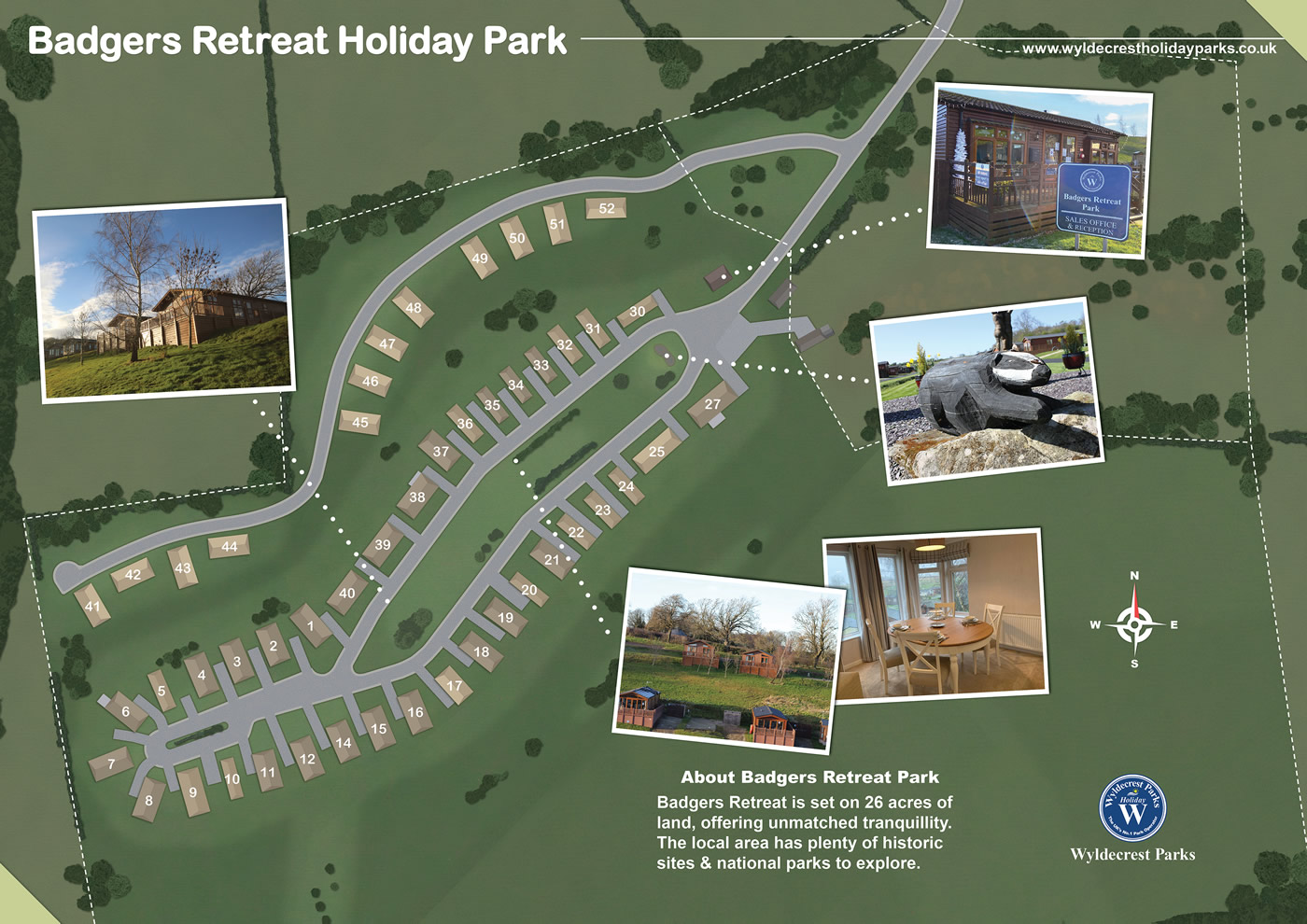 Badgers Retreat Holiday Park Map